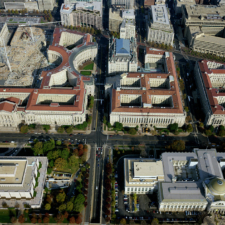 Aerial of Federal Triangle with Justice Department on the upper right - Washington DC