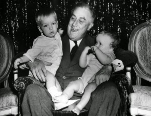 Franklin D. Roosevelt III, President Franklin D. Roosevelt, and John Roosevelt Boettiger, Christmas 1939 at The White House.