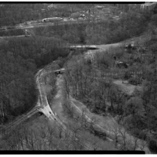 Aerial view of Beach Drive and Piney Branch parkway (foreground), Porter St (middle) and Klingle Rd (back)