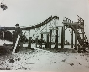 WPA-worker building toboggan slide.