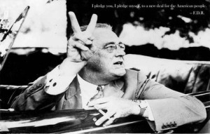 FDR Flashes the Victory Sign, 1942
