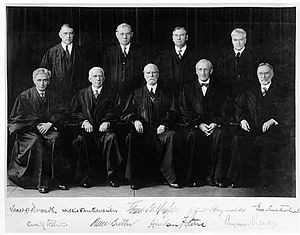 The Hughes Court, 1932–1937. Front row: Justices Brandeis and Van Devanter, Chief Justice Hughes, and Justices McReynolds and Sutherland. Back row: Justices Roberts, Butler, Stone, and Cardozo.