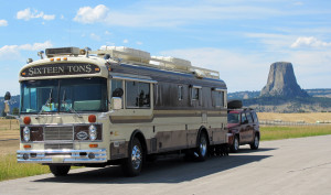 """""""Sixteen Tons"""" passing through Wyoming's Devil's Tower National Monument"""