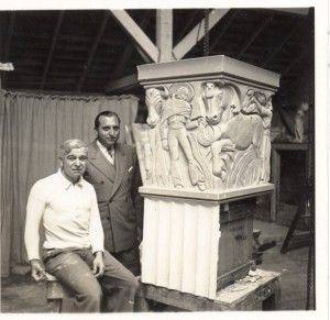 Mora and Stanton: Jo Mora (left) and Robert Stanton with one of the column caps in Mora's studio.