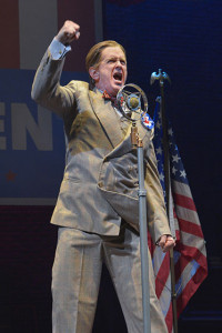 David Kelly plays Buzz Windrip, homegrown dictator, in It Can't Happen Here.