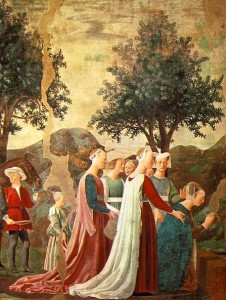 Piero della Francesca, The Queen of Sheba Adoring the Holy Wood, c. 1458, mural (part of the Cycle of the True Cross), Arezzo, Tuscany