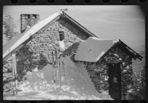 Forest ranger's hut also used by skiers in the winter, near the top of Mount Mansfield, Smuggler's Notch, Vermont, 1939. © Library of Congress