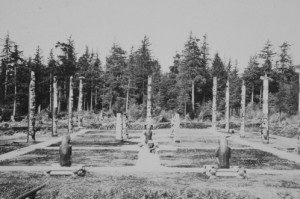 Totem poles located to a park in Hydaburg in 1941