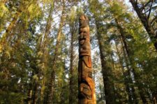 Trader Legend Pole: This replica of a pole in Sukkwan was carved during the 1938-1942 CCC project