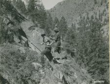 CCC men in Idaho—Preparing dynamite holes for the Salmon River road, 1935