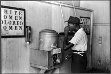 """Water cooler: Drinking water reserved for """"Colored,"""" Oklahoma City, Oklahoma, 1939."""