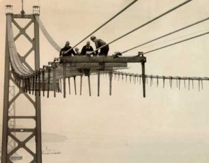 Bridge workers on catwalk