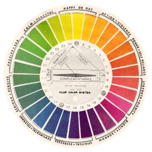 Color Wheel, Hiler ascribed a psychological significance to each color.