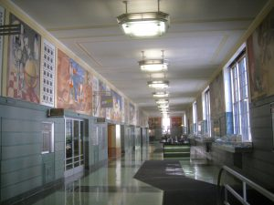 Lobby at Rincon Annex Post Office, San Francisco, Site of the last public murals created under the New Deal
