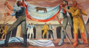 Raising the Bear Flag, Mural by Anton Refregier, Two American settlers proclaim California's independence from Mexico