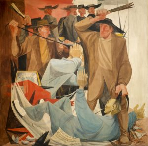 Beating the Chinese, Mural by Anton Refregier, Workers are portrayed beating Chinese immigrants whom they blamed for taking jobs