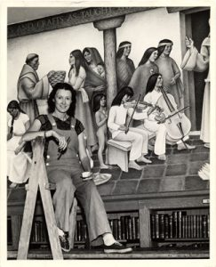 Edith Hamlin, Posing with her mural at San Francisco's Mission High School