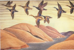 """Detail, """"Hunting in California,"""" 1934, Coit Tower mural by Edith Hamiin"""
