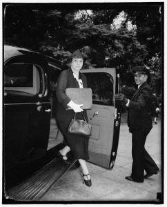 Perkins arrives at the White House for a Cabinet meeting in September 1938