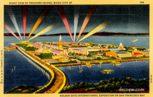 Postcard, Treasure Island, 1939, Golden Gate International Exposition at Night