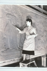 Lulu Hawkins Braghetta at work at the Court of Pacifica