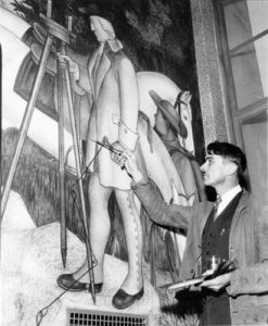 Victor Arnautoff at work, George Washington High School, San Francisco, 1936