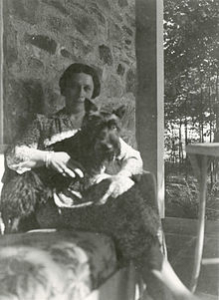 Daisy and Fala at Top Cottage in Hyde Park, NY. Photographed by Franklin D. Roosevelt, 1941
