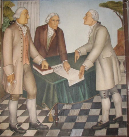 Washington with Hamilton and Jefferson