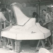 Artists Lenore Thomas, Hugh Collins, Joseph Goethe and Carmelo Aruta working on frog sculpture for Langston Terrace - Washington DC