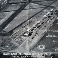 Aerial view showing new admin building & terminal, Oakland Municipal Airport, c 1941 - Oakland CA