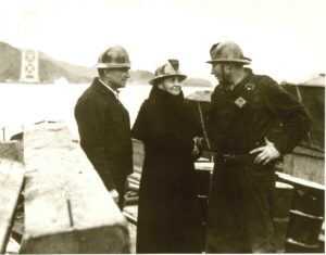 Inspecting the construction of the Golden Gate Bridge