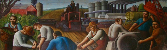 """Ohio"" Mural by WPA artist Paul Meltsner displays the social realism popular during the New Deal."