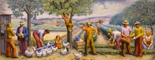 """""""Local Industries,"""" mural study by Natalie Smith Henry, 1940"""