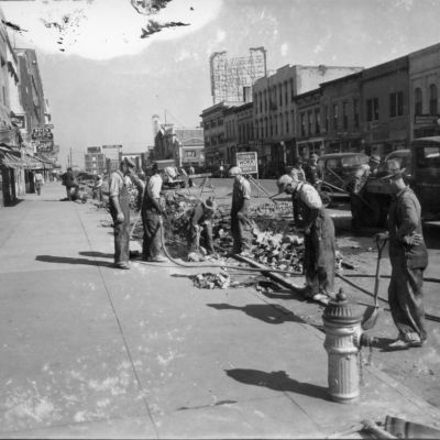 WPA workers repairing Massachusetts Street in Lawrence, Kansas. Source: Kansas Historical Society.