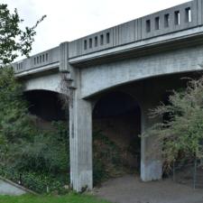 Upper Broadway bridge seen from Golden Gate Ave. - Oakland CA