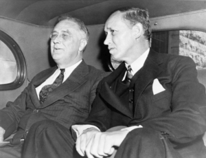 President Roosevelt and Hopkins in a car