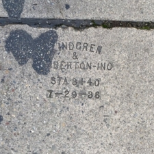 Concrete stamp on Broadway Terrace at Highway 13 underpass