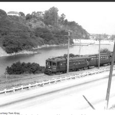 Former Landvale Road and Sacramento Northern RR, looking west across Lake Temescal - Oakland CA