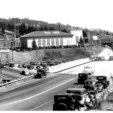 Former Landvale Bridge over Upper Broadway, with PG&E Claremont substation