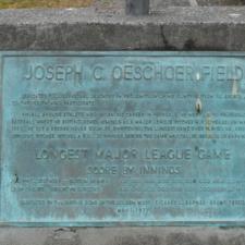 Oeschger memorial plaque at baseball field, Firemen's Park - Ferndale CA