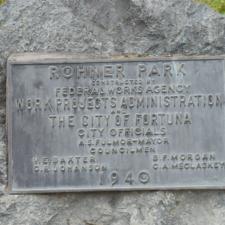 WPA plaque,Rohner Park - Fortuna CA