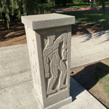 Art Deco Structural Piece - near entry way of T. J. Day Hall (Linfield- McMinnville Library)