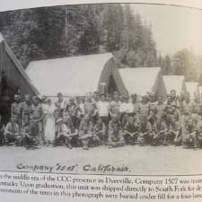 CCC Company 1507 in front of tents at Dyerville - Humboldt Redwoods State Park CA