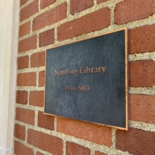 Northrup Library Plaque on front facade of T. J. Day Hall, Linfield University