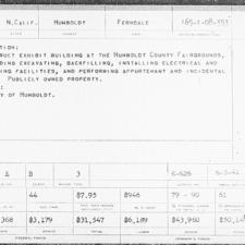 WPA project card forHumboldt County fairgrounds - Ferndale CA