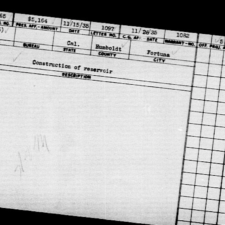 WPA project card for water works - Fortuna CA