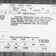 WPA project card, reservoir - Fortuna CA