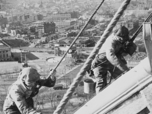 Repairing the gold dome, 1934.