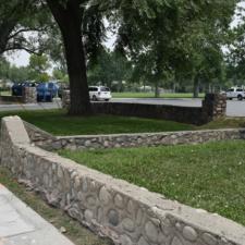 Stone walls along west side ofFairmont Park - Salt Lake City UT
