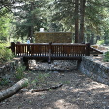 Stone-lined creek and bridge,Theater in the Pines at Aspen Grove - Mt Timpanogos UT